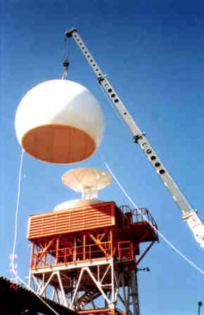6.7m (22ft) diameter S-band sandwich radome installation in Manaus, Brazil.